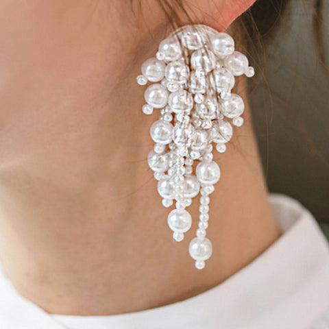 White Beads Drop Long Earrings