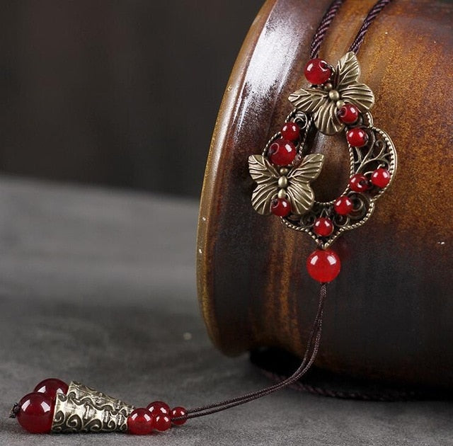 Handmade Red Beads Long Necklace