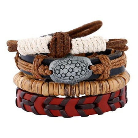 Wooden & Leather Beads Bracelet