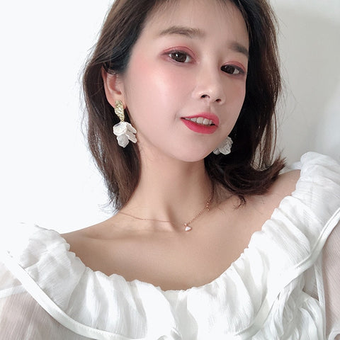 White Flower Petal Earring