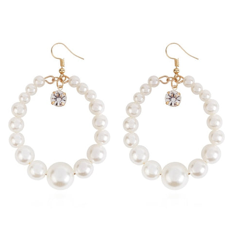 White Pearl Round Earrings