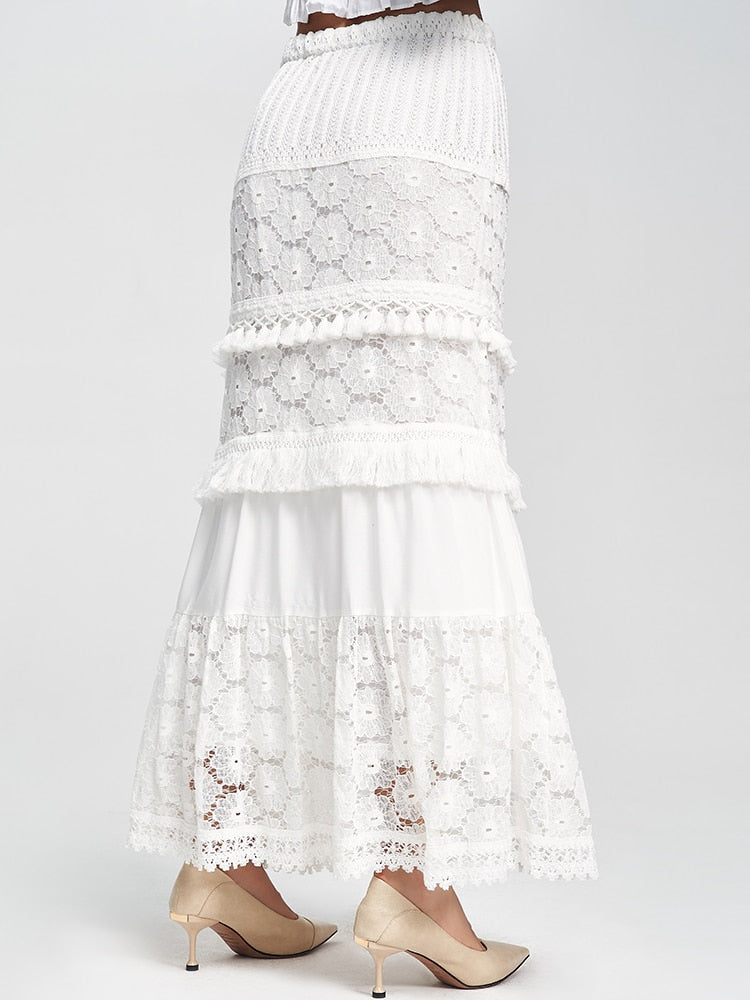 fashion women high-waisted white lace cotton midi skirt