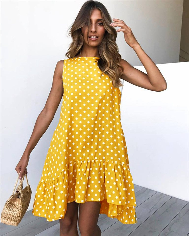 Wave Point Dress Ruffle Women 2019 Spring Summer Street Sexy Casual Slim T