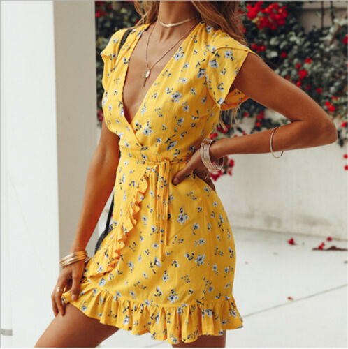 New Fashion Boho Style Women's Summer Casual Short Sleeve V Neck Bandage Bodycon Ruffle Evening Party Print Short Mini Dresses