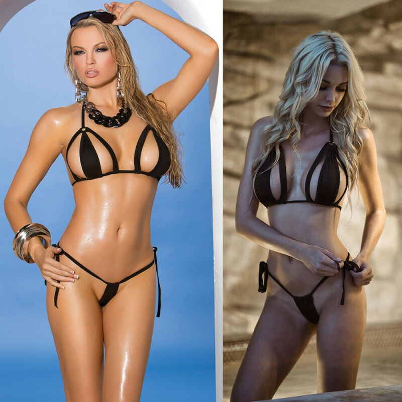 Women Black Bikini Set Soft Bra  G-string T