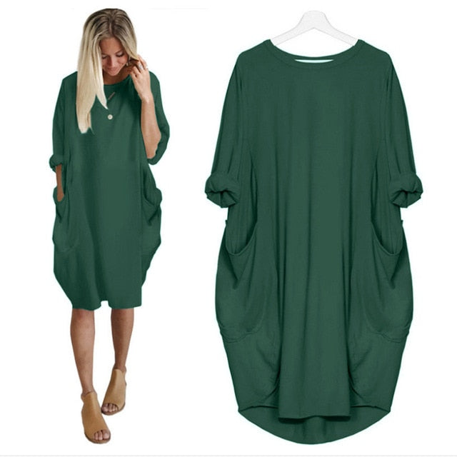 Women Casual Loose Dress with Pocket Ladies Fashion O Neck Long