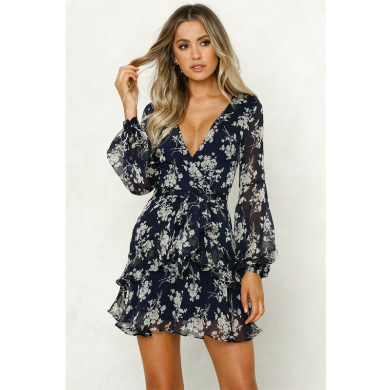 New Boho Women's Floral Chiffon Dress Ladies V-neck Puff Sleeve A-line Party Dresses