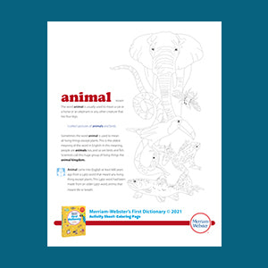 Merriam-Webster's First Dictionary, Coloring Sheet Downloadable