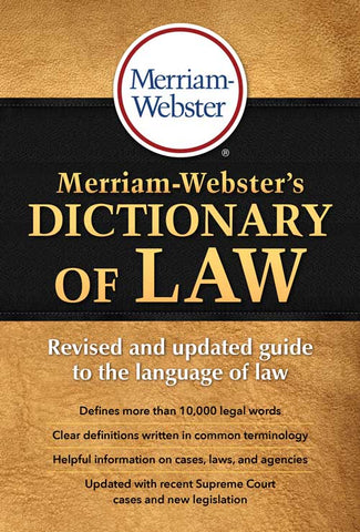 Merriam-Webster's Dictionary of Law cover