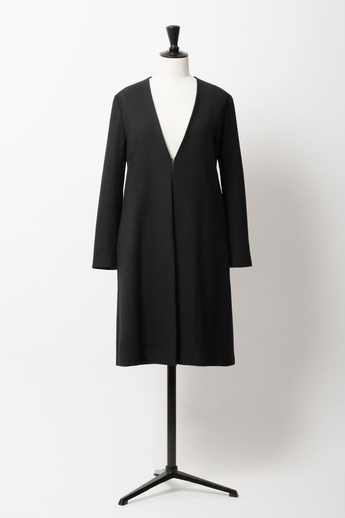 V Neck Wool Coat | Noir