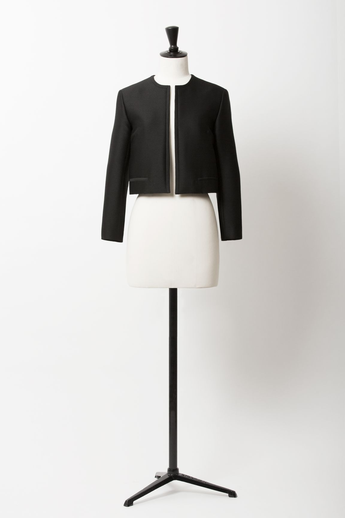 Collarless Short Jacket | Noir