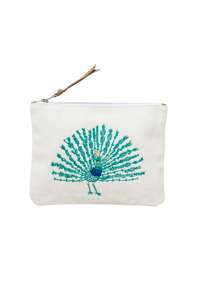 Motif Embrodidery Pouch | Peacock