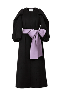 Volume Sleeve Cashmere Coat | Noir