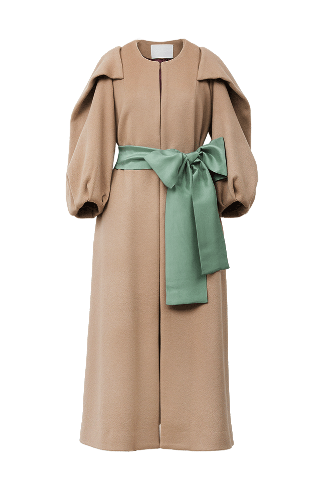 Volume Sleeve Cashmere Coat | Sahara