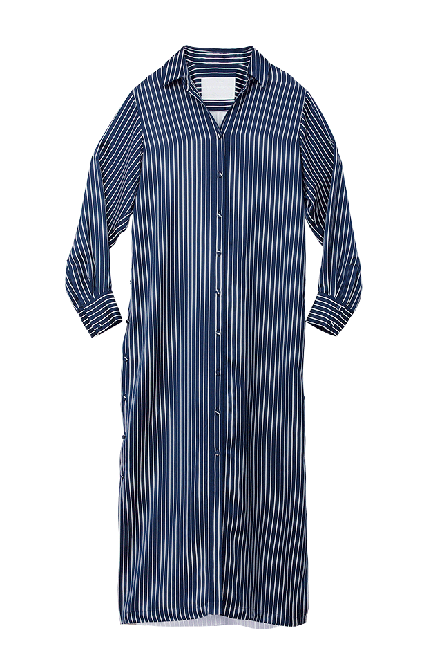 Bi-Color Stripe Shirt Dress | Midnight Blue