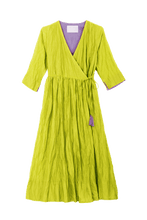 Load image into Gallery viewer, Crinkle Wrap Dress | Lime