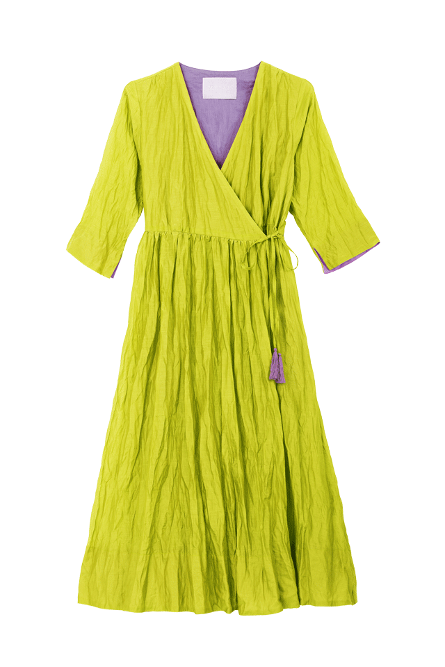 Crinkle Wrap Dress | Lime