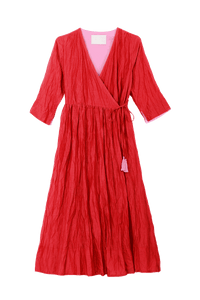 Crinkle Wrap Dress | Red
