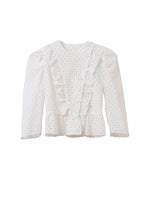 Load image into Gallery viewer, Cotton Lace Ruffle Jacket | Shell White