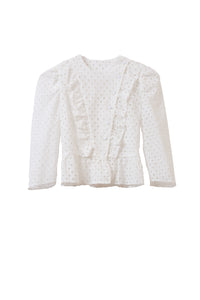 Cotton Lace Ruffle Jacket | Shell White