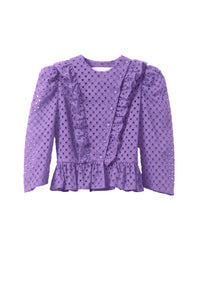 Cotton Lace Ruffle Jacket | Orchid