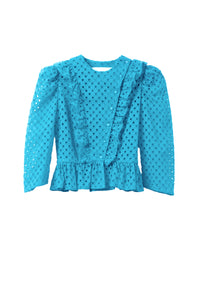 Cotton Lace Ruffle Jacket | Turquoise Blue