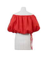 Load image into Gallery viewer, Color Linen Volume Sleeve Blouse | Coral Red