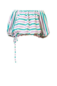 Striped Linen Volume Sleeve Blouse | Multi Stripe Lilac
