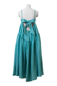 Back Ribbon Tiered Maxi Dress | Turquoise Blue