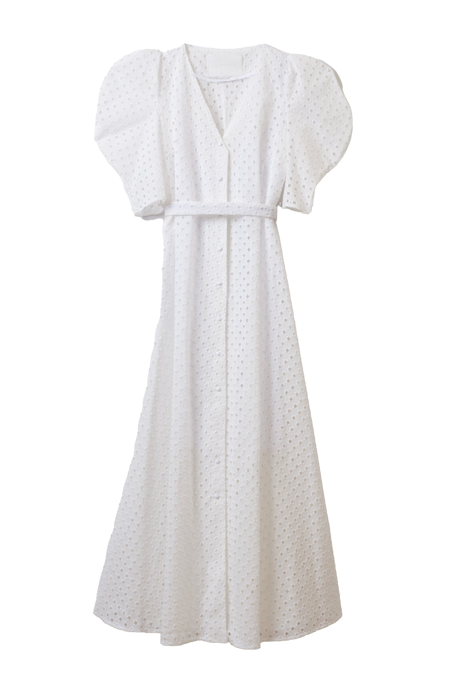 Cotton Lace Volume Sleeve Dress | Shell White