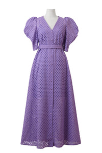 Cotton Lace Volume Sleeve Dress | Orchid