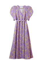 Load image into Gallery viewer, Linen Heart Print Volume Sleeve Dress | Lilac