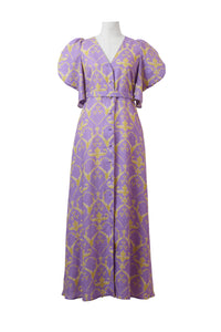 Linen Heart Print Volume Sleeve Dress | Lilac