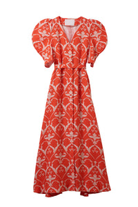 Linen Heart Print Volume Sleeve Dress | Coral Red