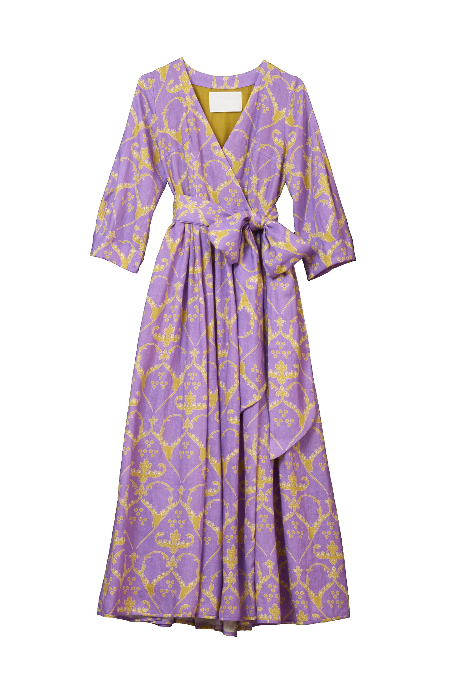 Linen Heart Print Wrap Dress | Lilac
