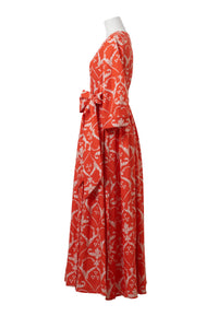 Linen Heart Print Wrap Dress | Coral Red