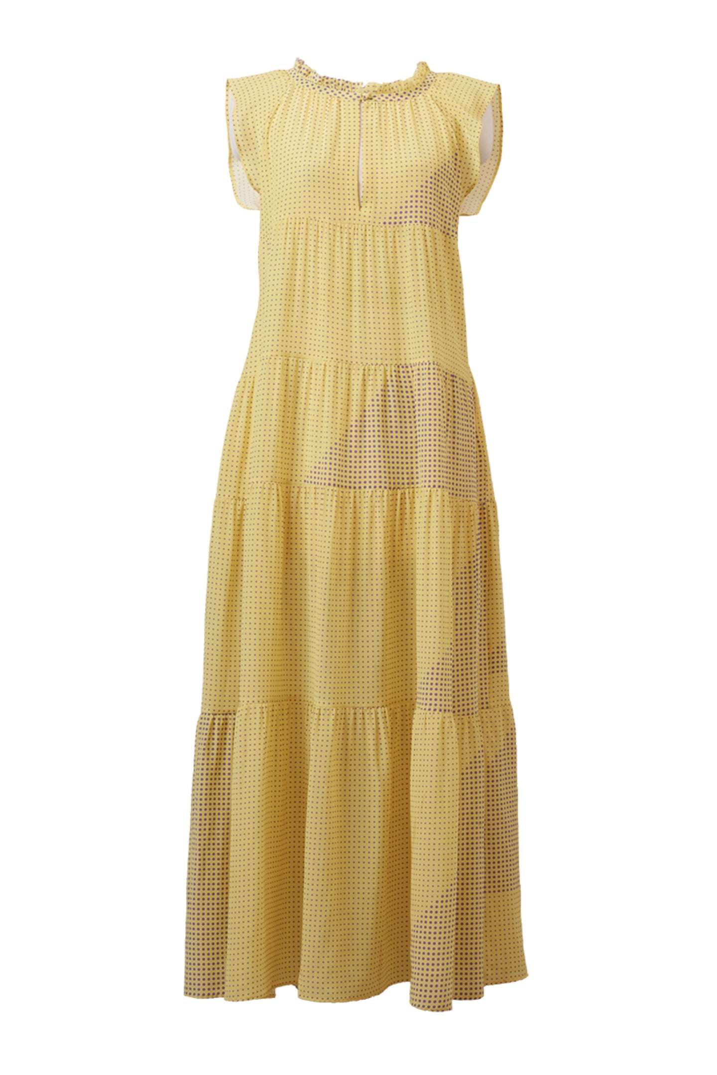 Silk Dot Ramie Tiered Dress | Citrine