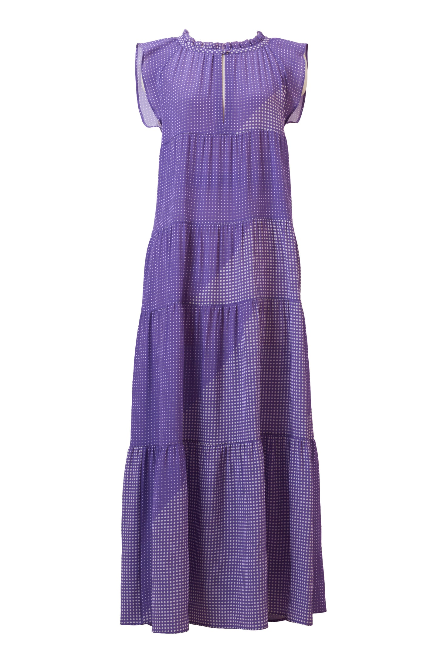 Silk Dot Ramie Tiered Dress | Orchid