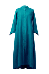 Color Linen Stand Collar Shirt Dress | Emerald
