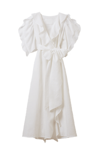 Color Linen Ruffle Wrap Dress | Shell White