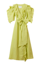Load image into Gallery viewer, Color Linen Ruffle Wrap Dress | Citrine