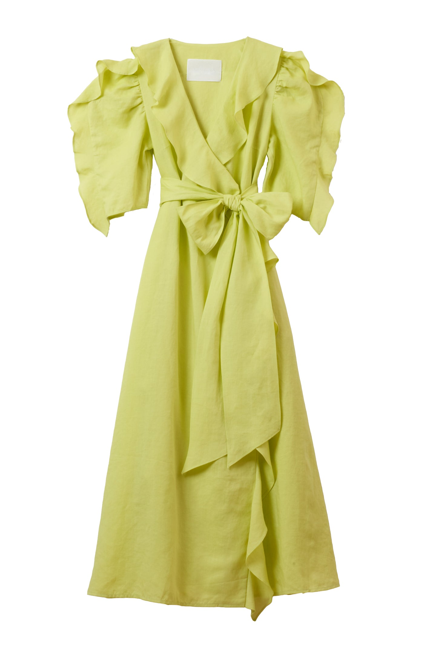 Color Linen Ruffle Wrap Dress | Citrine