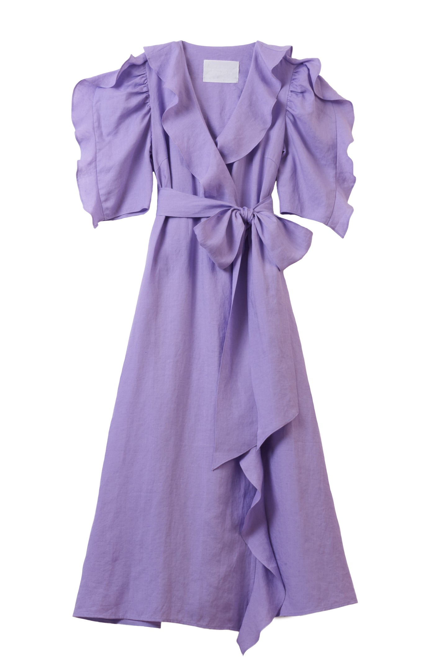 Color Linen Ruffle Wrap Dress | Lilac