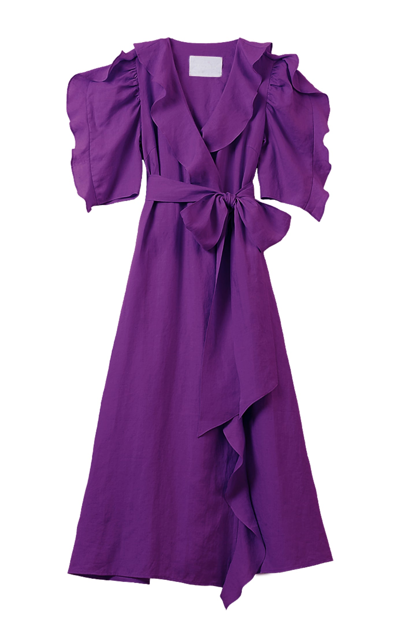 Color Linen Ruffle Wrap Dress | Orchid