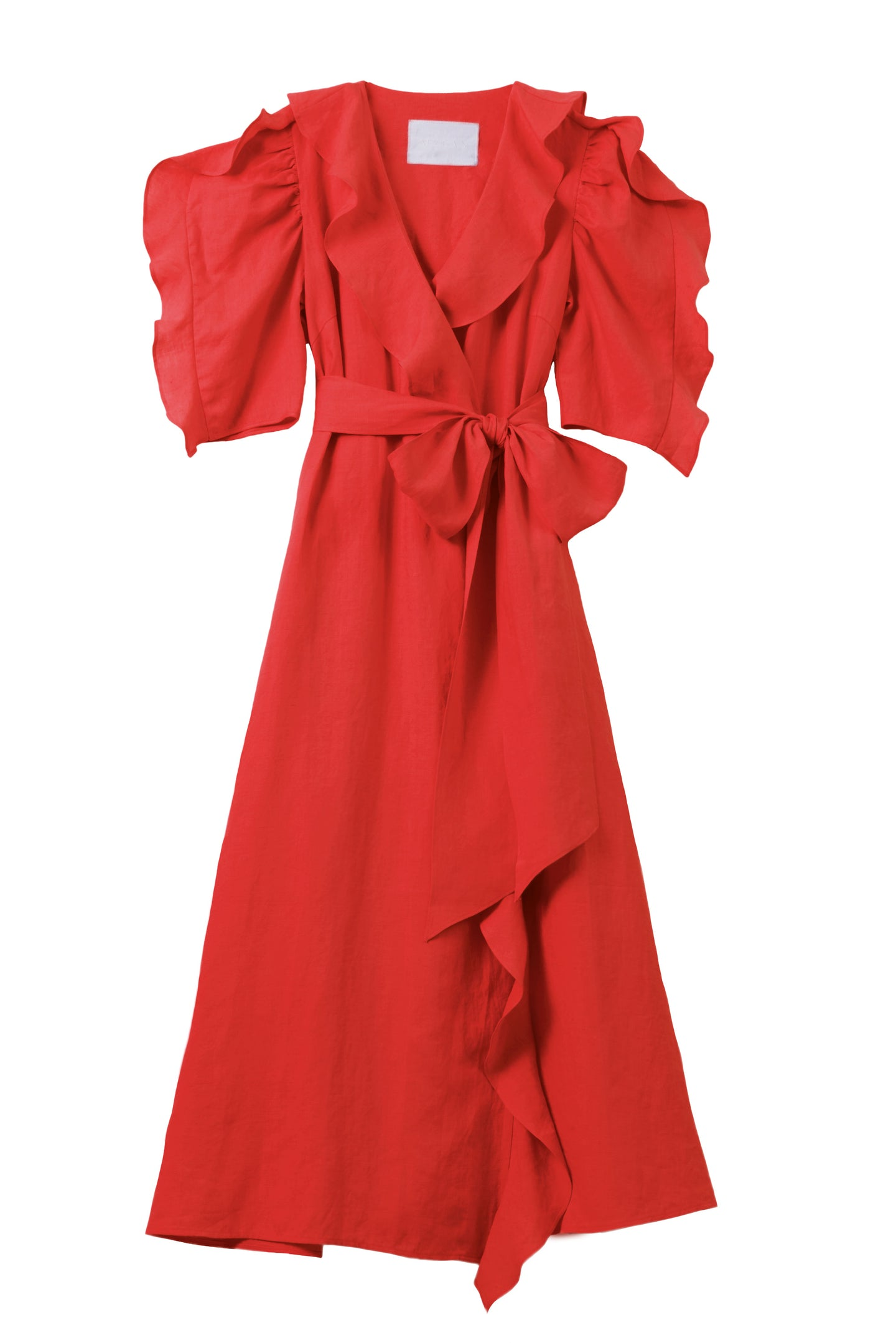 Color Linen Ruffle Wrap Dress | Coral Red