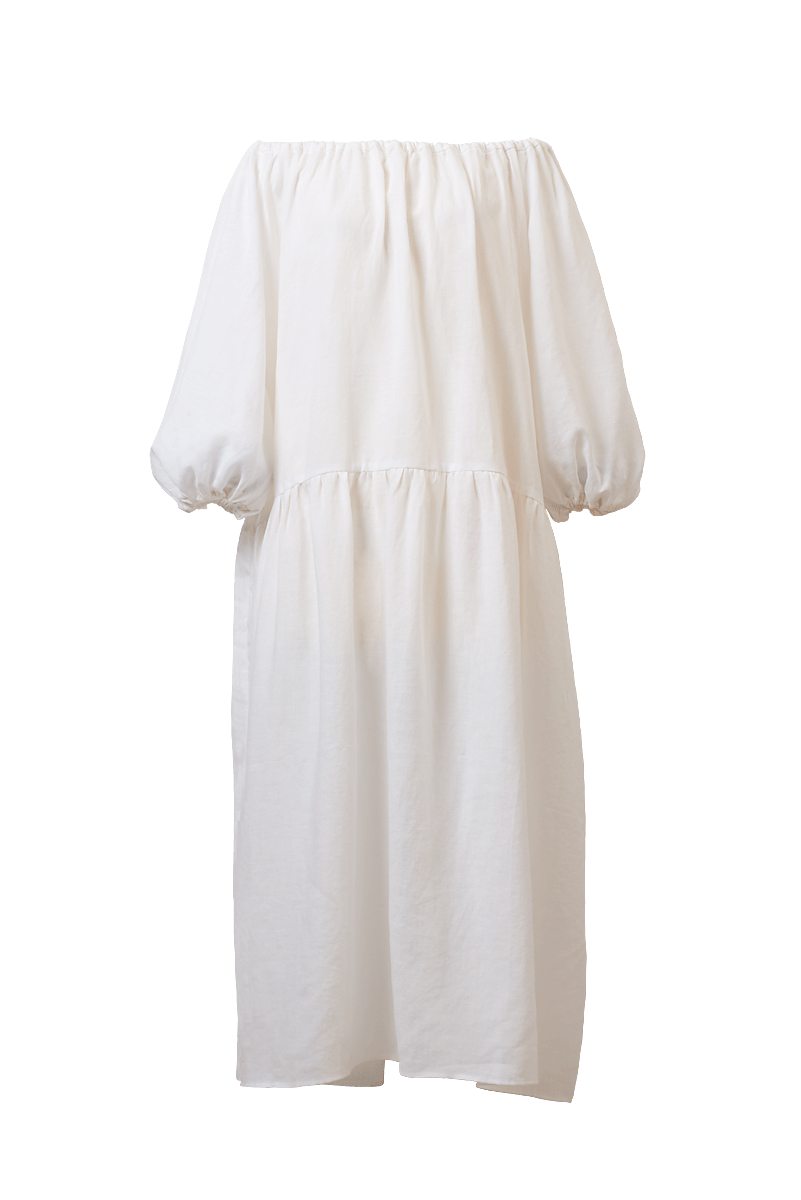 Color Linen Volume Sleeve Dress | Shell White