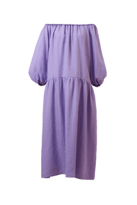 Color Linen Volume Sleeve Dress | Lilac
