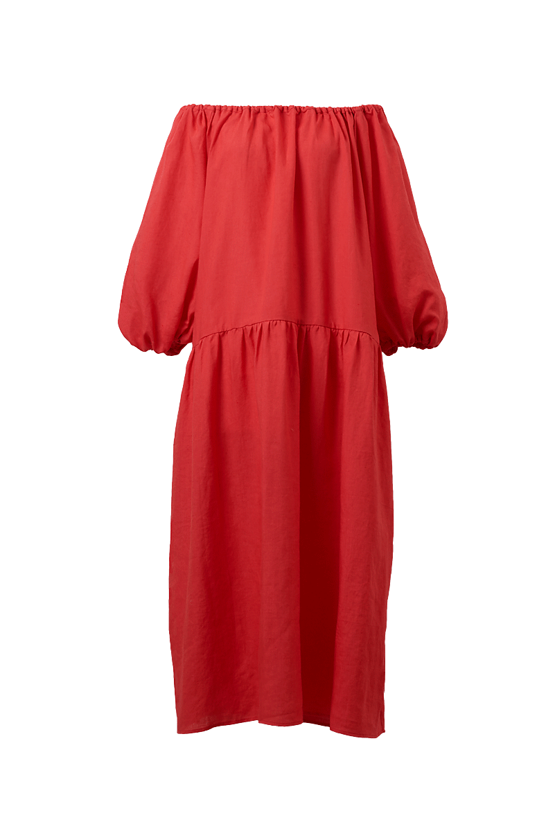Color Linen Volume Sleeve Dress | Coral Red