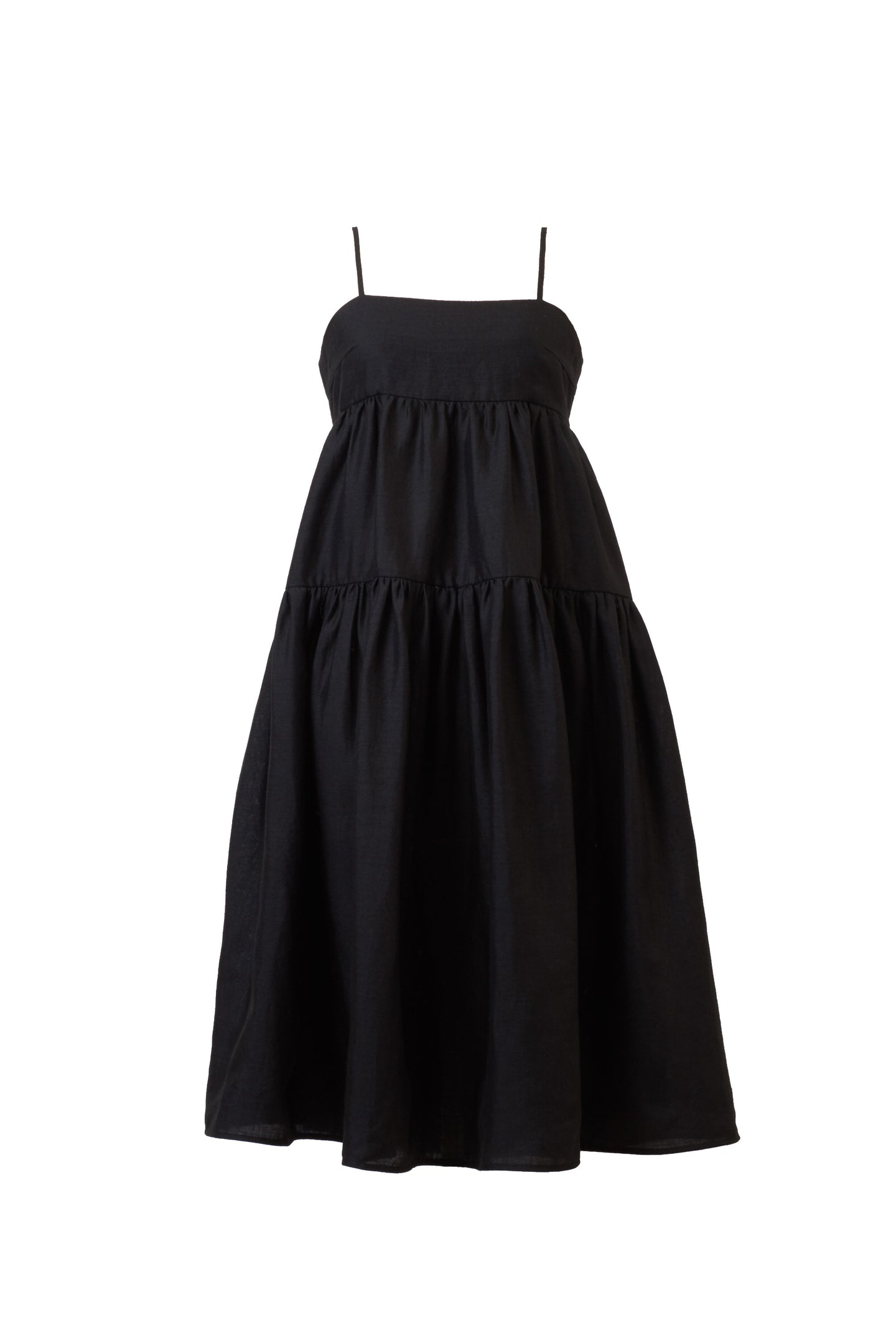 Color Linen Back Ribbon Dress | Black