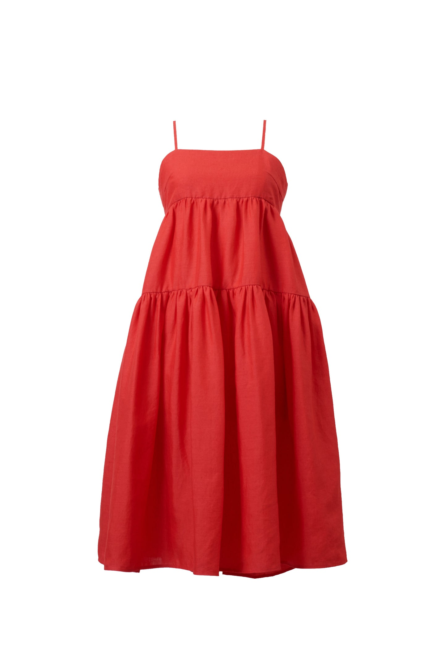 Color Linen Back Ribbon Dress | Coral Red